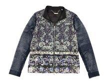 Women's Ellie Tahari size XS Lace Sleeve Floral Orchid Print Metallic Jacket NWT