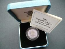 1993 ROYAL MINT SILVER PROOF £1 COIN HOUSED IN ROYAL MINT CASE WITH LEAFLET..