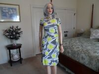 Lafayette 148 New York Gray/Yellow Flower Print Twist Front Sheath Dress Size P
