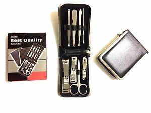 MENS MANICURE SET STAINLESS PROFESSIONAL NAIL KIT IN LEATHER WALLET - GROOM KIT
