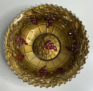 Antique Goofus Glass Gold Bowl With Grapes