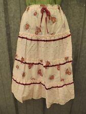 Vtg 1970s NEW NOS Pink Floral Tiered Ruffled Prairie Skirt Sz 5/6 Boho Festival