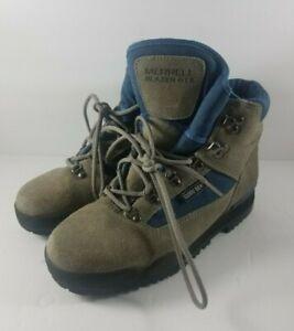 Merrell Blazer GTX Blue & Gray Leather & Gore-Tex Hiking Boots Women's USA 8