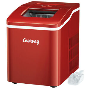 Portable Ice Maker Machine Countertop 26Lbs/24H Self-cleaning w/ Scoop Red