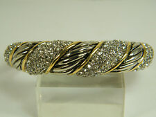 BRACELET:  NEW BANGLE SUPERIOR QUALITY GOLD&SILVER WHITE TOPAZ 24K GOLD FILLED