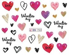 Nail Art Water Decals Stickers Transfers Valentines Hearts (BN753)