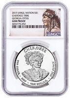 2017 Native Silver Dollar GA Cherokee - Otter 1 oz Silver NGC Gem Proof SKU52736
