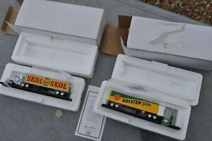 HO Scale 1/87 Matchbox Mattel MINT PAIR 18 wheeler Beer trucks Skol & HolstenPil