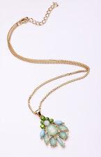Exquisita de lujo Floral Oro Tono Verano Verde Brillante Collar (Cl18)