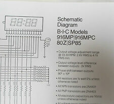 BIC TURNTABLE MODEL 916 BLOW UP DIAGRAM, PARTS LIST & SCHEMATIC FOR 916 SERIES
