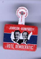 1964  JOHNSON HUMPHREY Tab Badge pin pinback button LBJ