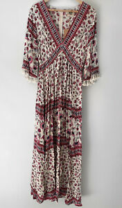 DREAMCATCHER Gypsy boho tasselled maxi dress Size 8 left BNWT
