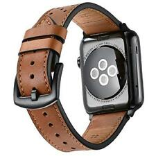iWatch Band 38mm/40mm Series 4 3 2 1 Leather Replacement Strap Metal Clasp Brown