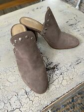 Michael Kors Women's 8.5 Louise Mule Taupe Suede Leather Slip On Shoes Studs