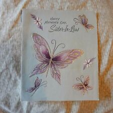 Vintage Mother's Day Card, Paramount 25 MD4430 SISTER-IN-LAW Purple Butterfly #2