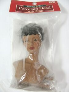 New vtg African American Porcelain Doll Head + Arms Angel Craft Kit Holiday Time