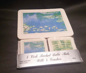 4 CORK TABLE MATS and 4 COASTERS NEW OTHER (Monet - The Water-Lily pond?) READ