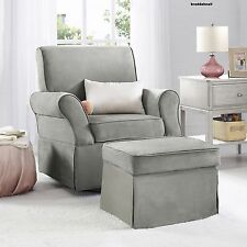Glider Swivel Upholstered Chair Ottoman Infant Nursery Furniture Baby Beige Gray