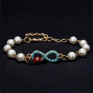 Charm Pearl Gold Turquoise Beaded Pendant Bracelet Bangle Lucky 8 Women Jewelry