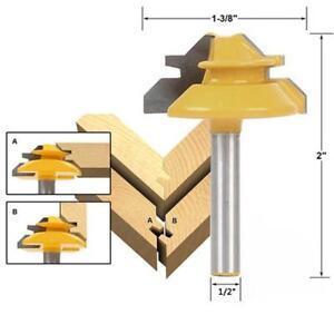 HOT 45 Degree Glue Joint Lock Miter Router Bit Woodwork Tenon Cutter Tool KS