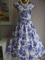 MONSOON BLUE WHITE DITSY FLORAL 50's FLORENCE VINTAGE WEDDING PROM SUN DRESS 14