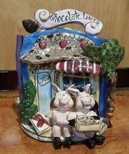 Chocolate Lovers Tea Light Piglet figurine Blue Sky 2003 Heather Goldminc