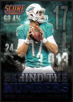 2014 Score Behind The Numbers Blue Dolphins Football Card #BN16 Ryan Tannehill