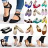 Womens Ankle Strap Slip On Ballet Shoes Flats Pump Comfy Bridal Sandal Ballerina