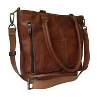 Women's Genuine Leather Shoulder Tote Bag Work Purse Cross-body Brown Handbag