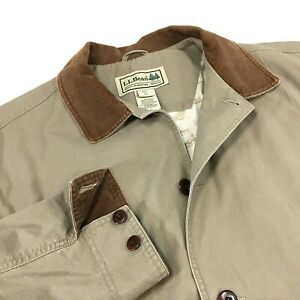 LL Bean Mens Barn Coat Chore Jacket Hunting Coat Size L Cotton Lined Beige