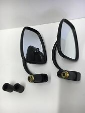 Black Bar End Semi Rectangular  Mirrors Universal Cafe Racer Motorcycle