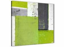 Lime Green Grey Abstract Painting Canvas Wall Art Print - 49cm Square - 1s339s
