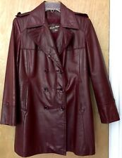 Etienne Aigner Leather Coat Jacket Sz 12 Vtg Womens Burgundy Double Breasted
