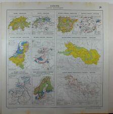 1929 ORIGINAL MAP ~ EUROPE ECONOMICAL INDUSTRY BELGIUM SWEDEN SPAIN AGRICULTURE