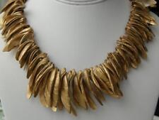 Vintage Gold Painted Shells Cleopatra Fringe Collar Necklace