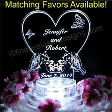 Butterfly Heart LED Lighted Wedding Cake Topper Acrylic Birthday Anniversary