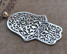 Khamsa, Hamsa, Hand of Fatima Silver Pendant -Handcrafted