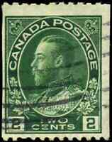Canada #133 used F 1915-1924 King George V 2c yellow green Admiral Coil Perf 12