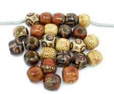 100 Mix Charm European Holzperlen Tube Muster Perlen Beads 11x12mm FL