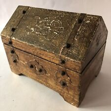 Italian Treasure Chest Music Box Florentia Jewelry Gold Toleware Wood Italy