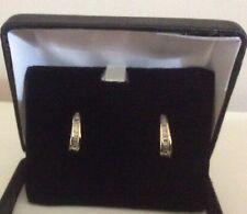 Pr.Ladies 10k Yellow Gold  Baguette Diamond Semi Hoop Earrings - FREE SHIPPING