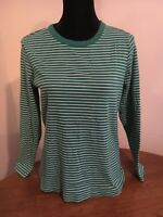 Lands' End Long Sleeve Green Striped Knit Top Shirt Sz 0X 14W Shaped Cotton
