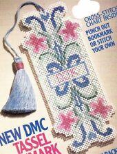 DMC Tasset Bookmark Cross Stitch Pattern w/ Tassel Instructions Great Easy Gift