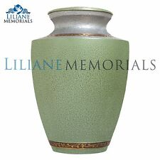 Green Flower bands - Brass Funeral Cremation Urn,  Adult, 200 cubic inches