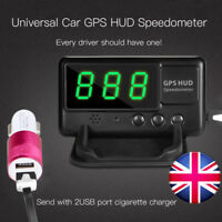 Car GPS Speedometer HUD MPH/KM/h Plug & Play Overspeed Warning +Charger UK STOCK