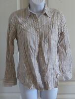 Womans Van Heusen Stripes 100% Cotton Button Down Shirt Long Sleeve Top XS
