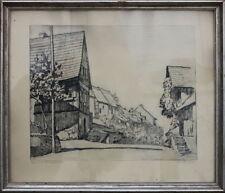 Dorfstrasse Fachwerkhäuser Radierung, datiert 1945   51,5 X 60,5 cm