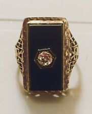 VINTAGE 14K GOLD BLACK CAMEO ONYX W/ OLD MINE DIAMOND FILIGREE RING
