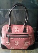 Dooney & Bourke Red Donegal Crest Large Domed Satchel with Brown Leather Trim