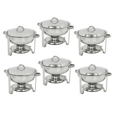 6 Pack Round Chafing Dish 5 Quart Stainless Steel Full Size Tray Buffet Catering